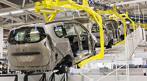 cars on assembly line
