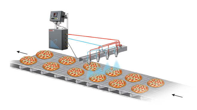 automated spray system misting pizza